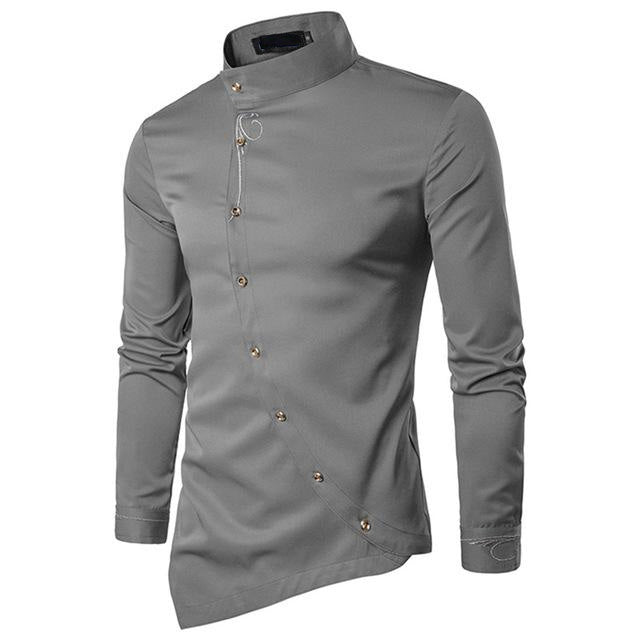 New Men Oblique Button Irregular Casual Shirt Long Sleeved Solid Embroidery Pattern Fit Shirts