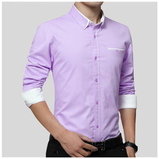 New Men Long Sleeve Turn-down Collar Cotton Shirt Slim Fit Business Casual Shirts
