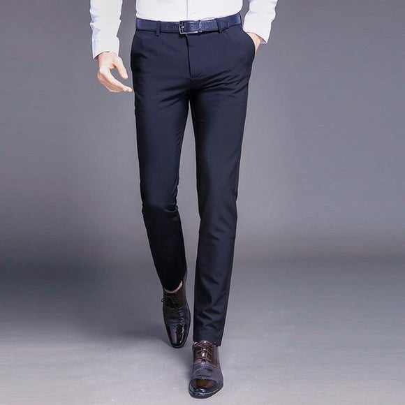 Spring and Summer Men Classic Zipper Straight Business Casual Pants