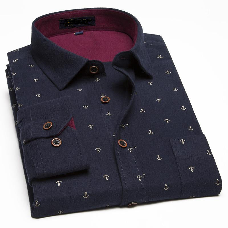 Mens Long Sleeve Turn-down Collar Printed Single Breasted Dress Shirts Cotton Shirts Plus Size