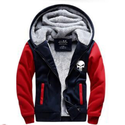 New Winter Men Punisher Skull Cosplay Hoodies Zipper Fleece Thicken Jacket Sweatshirts