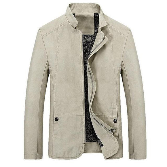 New Spring Autumn Mens Mandarin Collar Zipper Button Casual Slim Fit Solid Color Simple Jacket