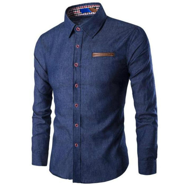 New Mens Fight Leather Pocket Dress Shirt Long Sleeve Slim Fit Casual Shirts