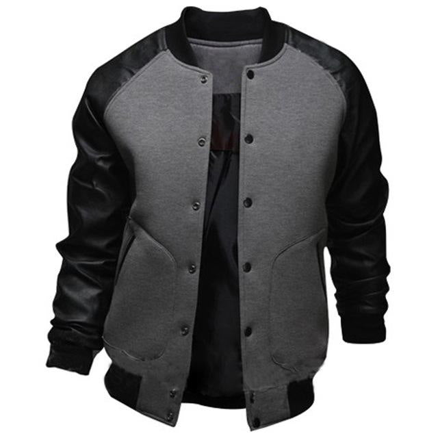 8a346f77b Mens Mandarin Collar PU Leather Sleeve Single Breasted Slim Fit Casual  Jackets Cool College Baseball Jacket