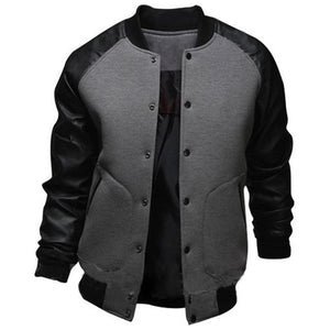 Mens Mandarin Collar PU Leather Sleeve Single Breasted Slim Fit Casual Jackets Cool College Baseball Jacket