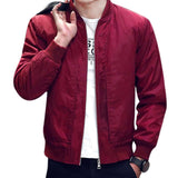 Spring Autumn Men Mandarin Collar Zipper Pockets Solid Color Slim Fit Casual Simple Jackets