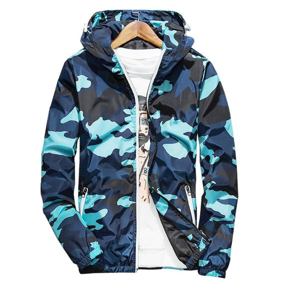 New Spring Autumn Zipper Pockets Thin Camouflage Fluorescent Casual Jackets Plus Size