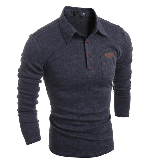 New Autumn Men Long Sleeve Pocket Polo Shirt Casual Slim Button Polos