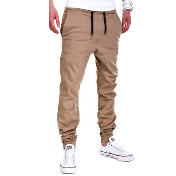 Mens Button Drawstring Cotton Solid Color Jogger Casual Pencil Pants