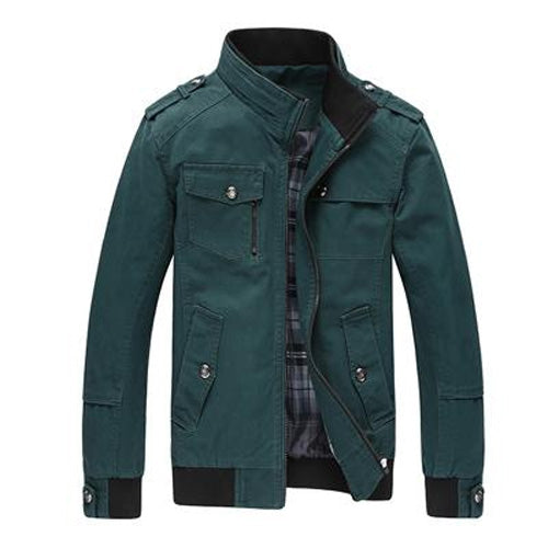 Spring Autumn Mens Mandarin Collar Zipper Pockets Army Military Casual Jacket