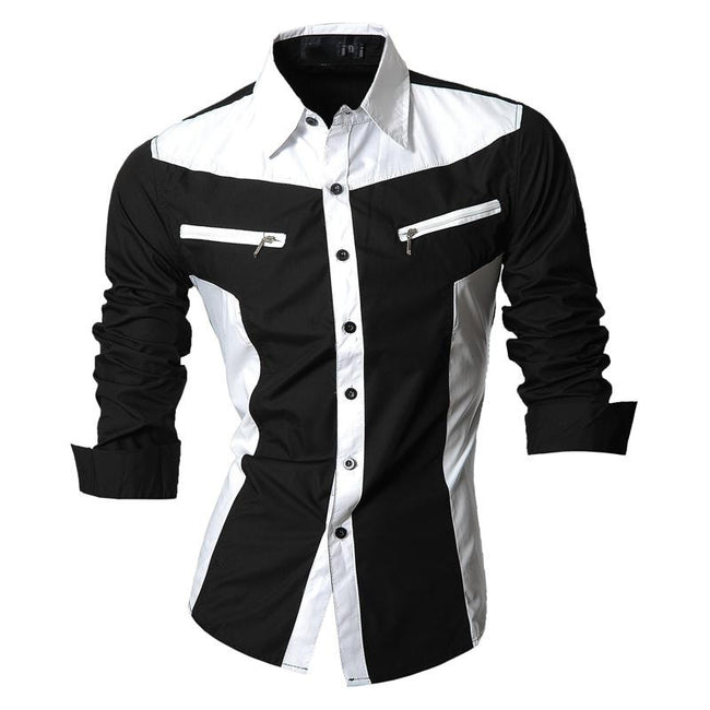 Long Sleeve Turn-down Collar Zipper Pockets Single Breasted Cotton Slim Fit Casual Feature Shirts