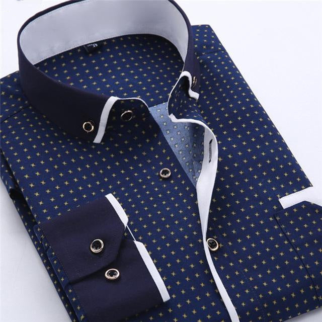 Long Sleeve Turn-Down Collar Single Breasted Polka Dot Print Slim Fit Casual Shirts