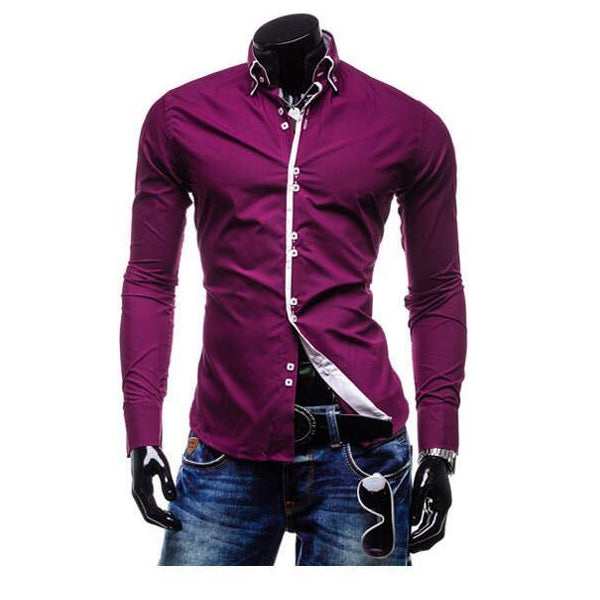 Long Sleeve Turn-down Collar Multi-Buttons Solid Hit Color Slim Fit Casual Dress Shirts