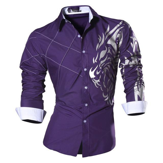 New Arrival Spring Autumn Men Long Sleeve Turn-down Collar Dragon Print Single Breasted Slim Fit Feature Shirt