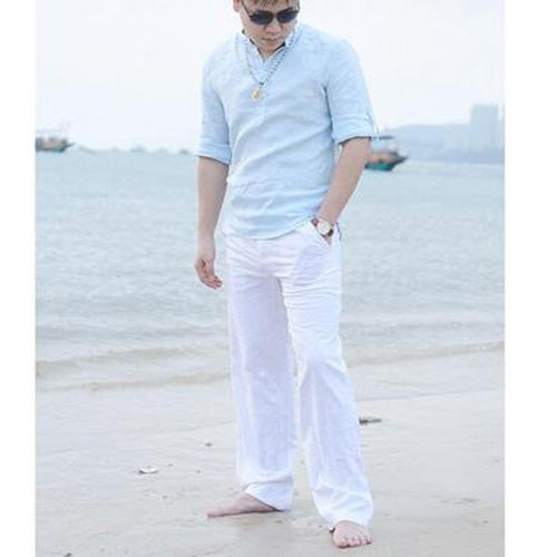 Summer Spring New Style Mens Mid-waist Elastic Waist Cotton Linen Straight Casual Pants