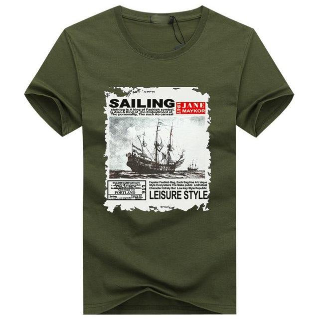 Summer Mens Short Sleeve O-Neck Sailing Letter Print Casual T-shirt