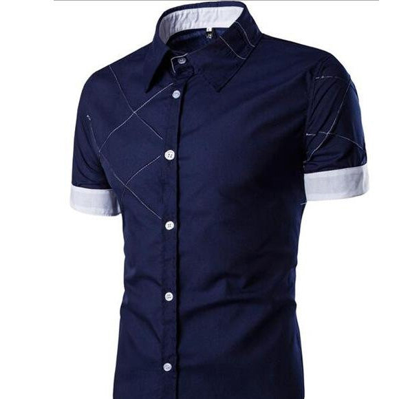 New Men's Short Sleeve Dress Shirts Cotton Social Shirt