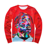 New Mens Long Sleeve 2pacTupac 3D Print O-Neck Hip Hop Pullover Sweatshirts