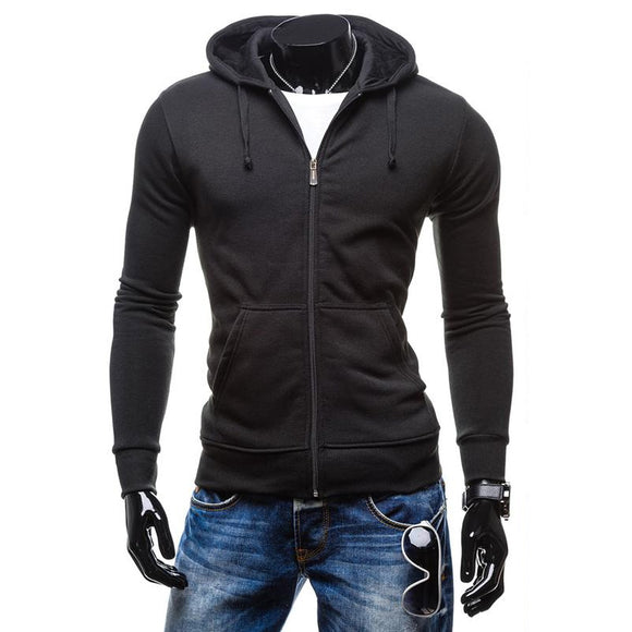 New Mens Zipper Pockets Sport Coat Solid Color Slim Fit Casual Hoodies