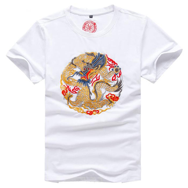 New Summer Fashion Men Short Sleeve Dragon Embroidery Cotton T Shirt