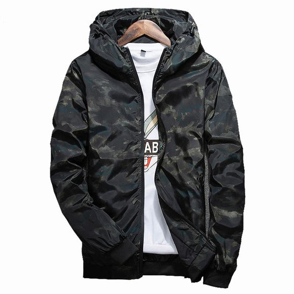New Spring Autumn Mens Rib Sleeve Camouflage Windbreaker Zipper Pockets Casual Hooded Jackets