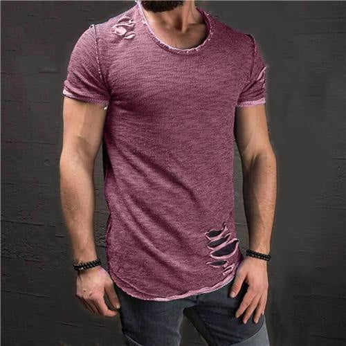 New Summer Men Short Sleeve O-Neck Ripped Hole Slim Fit Cotton Casual T-Shirt