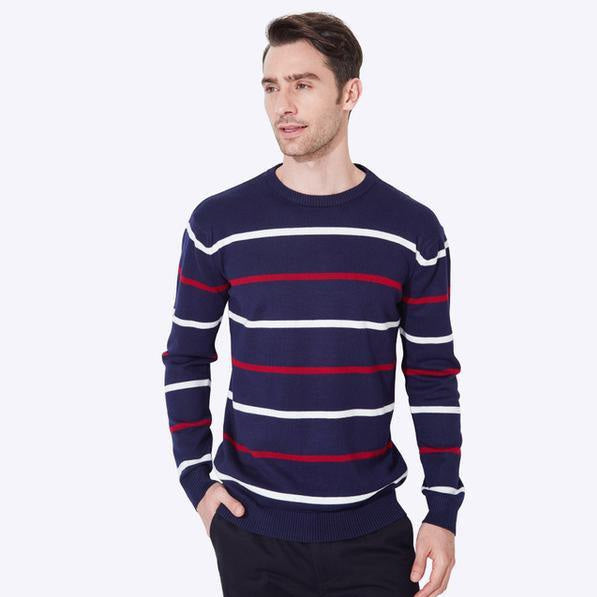 Spring Autumn Men O-Neck Striped Thin Comfortable Casual Regular Knitted Sweater