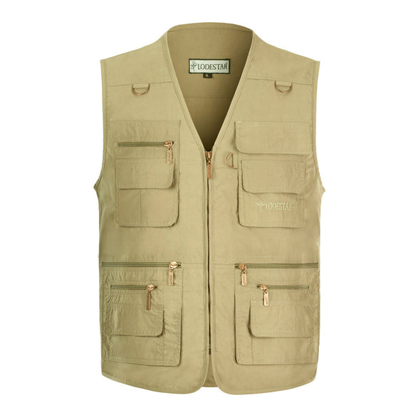 Casual Vest For Men Fishing Sports Travelling Multi-pocket Plus Size Tops