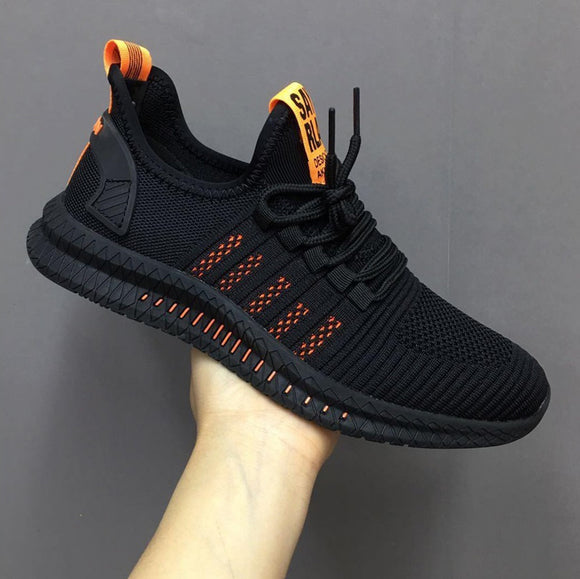 Men New Lightweight Mesh Breathable Comfortable Casual Shoes Lace-up Stitching Color Outdoor Walking Sneakers