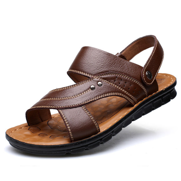 Men Summer Genuine Leather Sandals Comfortable Slip-on Casual Walking Wading Sandals