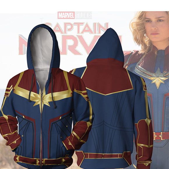 2019 New Captain Marvel Cosplay Hoodies 3D Digital Printed Unisex Zipper Hooded Jacket