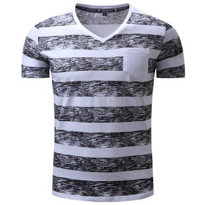 New Spring and Summer Mens Striped V-Neck Short Sleeve Casual T-shirt