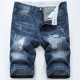 Summer Mens Cotton Ragged Cutoffs Zipper Up Ripped Jeans Casual Short Pants