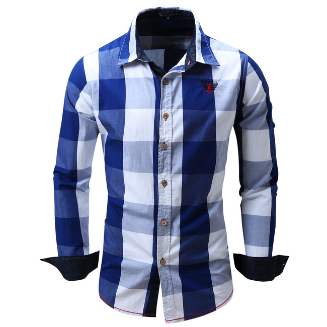 Mens Long Sleeve Lapel Shirt Cotton Plaid Stitching Color Casual Shirts