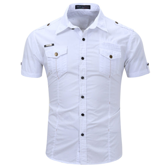 Mens Short Sleeve Shirt Military Outdoor Single Breasted Lapel Cotton Shirts