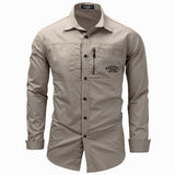 Plus Size Mens Long Sleeve Lapel Zipper Shirt Military Outdoor Casual Cotton Shirts