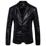 Spring and Fall New Mens PU Leather Coat Fashion Lapel Single Breasted Biker Leather Jackets