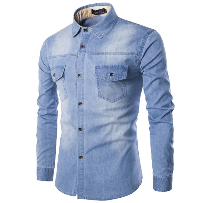 Plus Size Mens Jean Shirt Pockets Single Breasted Long Sleeve Lapel Shirts