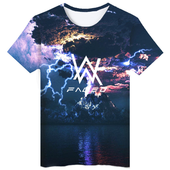 Summer New Alan Walker Faded 3D Printed Short Sleeve Round Neck Unisex T-shirt