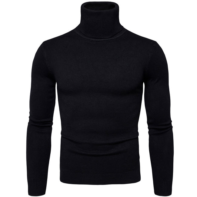 Fall and Winter Mens High Neck Long Sleeve Casual Knitted Sweater