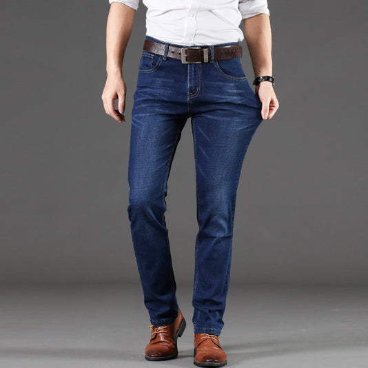 2019 New Mens Stretch Jeans Straight-legged Trousers Loose Plus Size Business Casual Pants