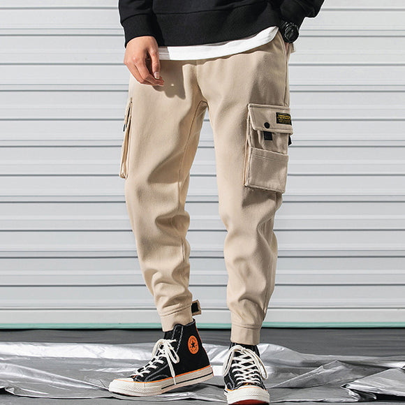 Japanese Style Spring and Summer New Mens Cargo Pants Loose Casual Ankle Banded Pants
