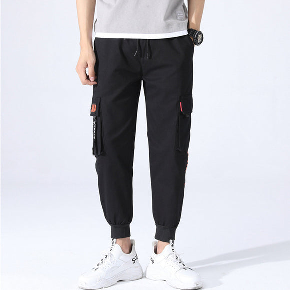 New Mens Cargo Pants Sports Cropped Pants Straight Casual Harem Pants