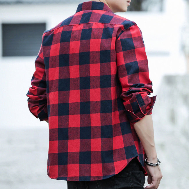 Mens Long Sleeve Shirt Japanese Style Casual Plaid Lapel Single Breasted Shirts