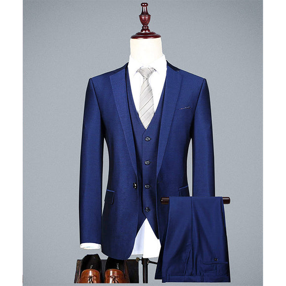 Tuxedo Skinny 3 Pieces Wedding Groom Formal Prom Suits