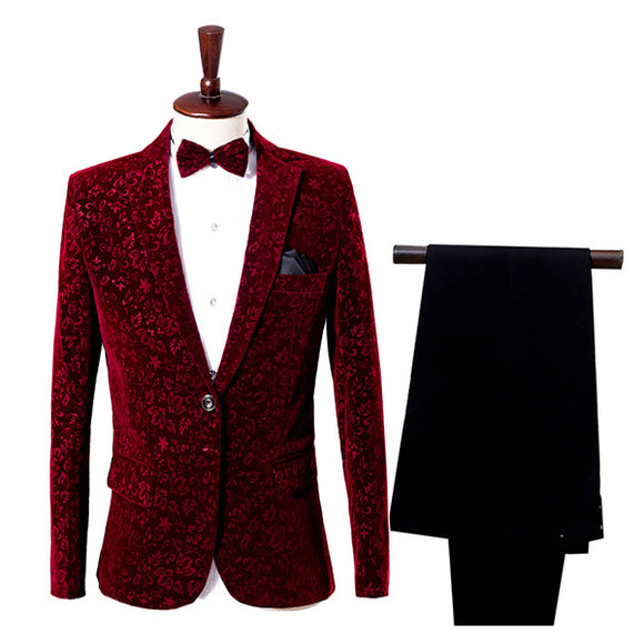 Burgundy Tuxedo Wedding Groom Skinny Dance Costume Prom Suits