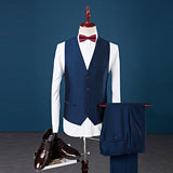 2019 New Men 3 Piece Single Breasted 3 Patched Collar Groom Wedding Prom Tuxedos Suits