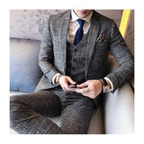 3 Pieces Navy And Grey Skinny Business Work Tuxedo Groom Wedding Formal Prom Suits