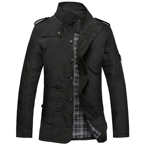 Mens Spring Autumn Mandarin Collar Single Breasted Zipper Pockets Regular Jackets