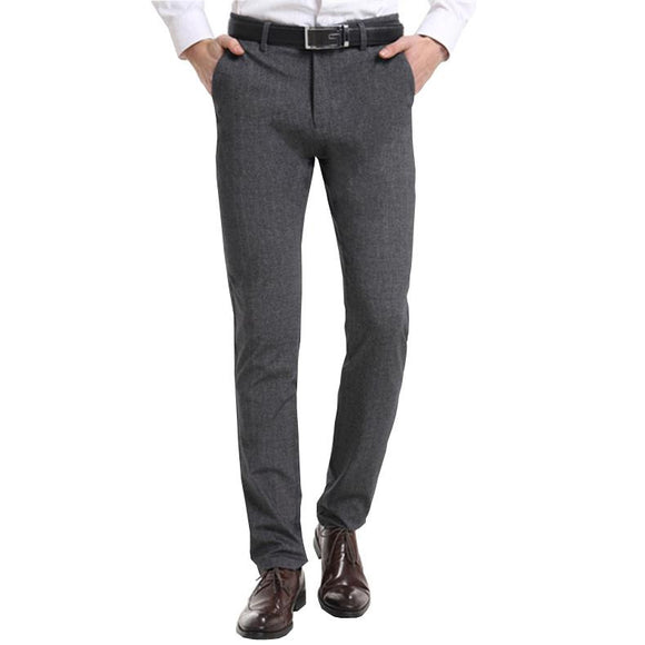 Fashion Mens Zipper Mid-waist Elastic Stretch Regular Business Casual Pants